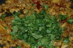 Golden brown onions, spices, cilantro